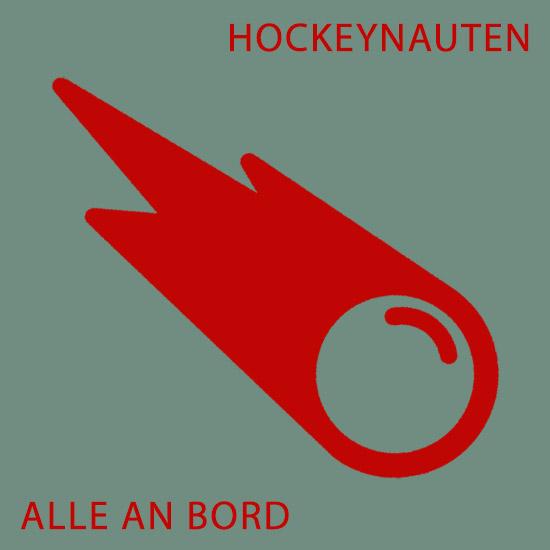 rote Rakete auf grauem Grund Slogan Hockeynauten Alle an Bord